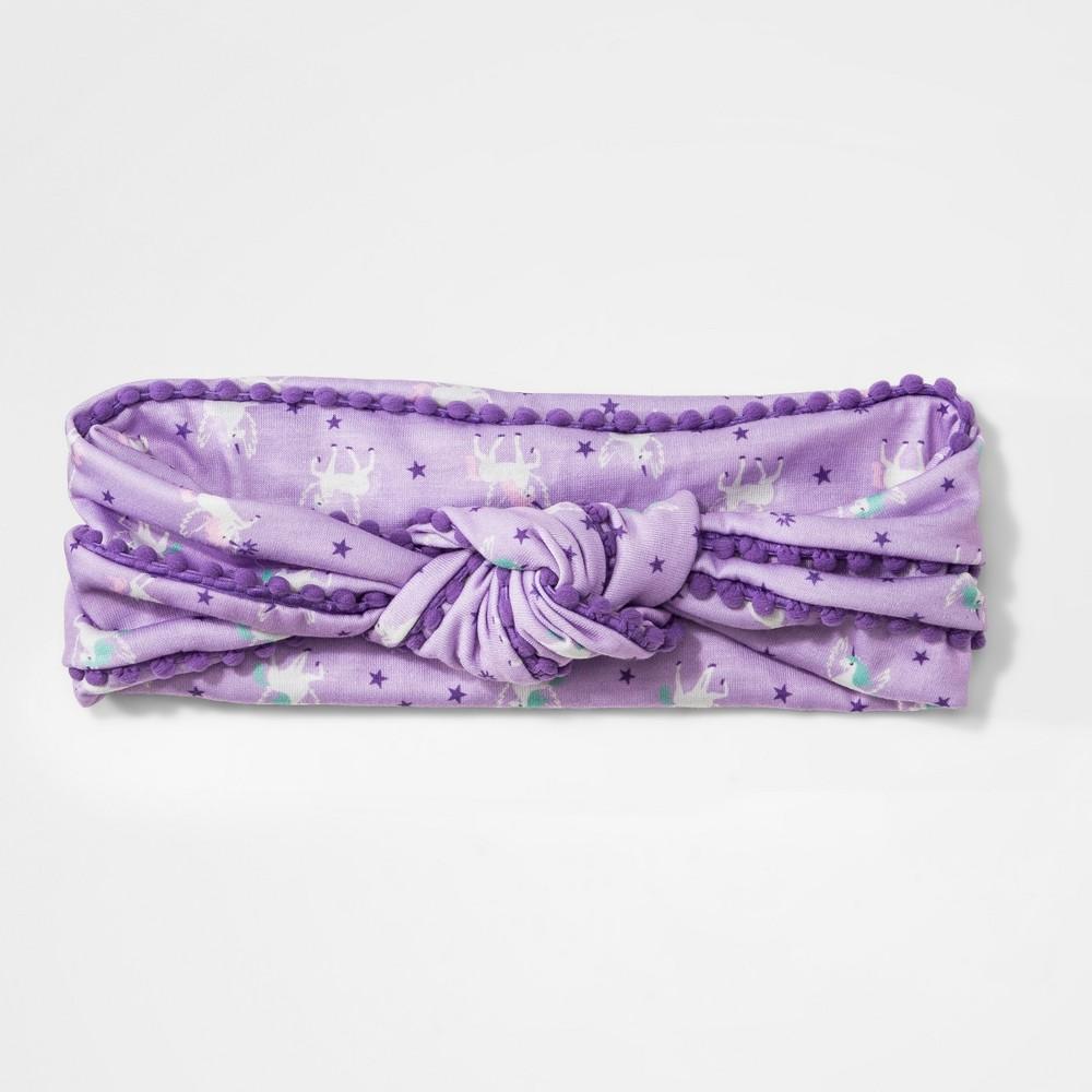 Girls' Unicorn Print Pom Trim Headwrap - Cat & Jack Purple