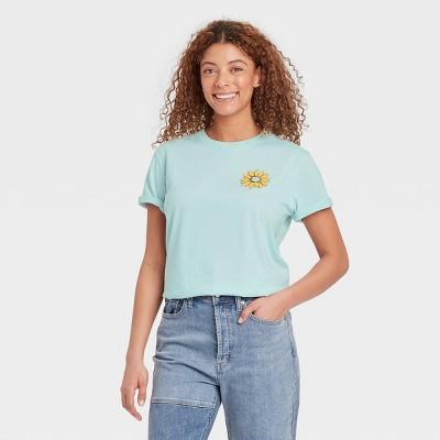 Women's Peace Sign Short Sleeve Graphic Boyfriend T-Shirt - Light Blue Floral