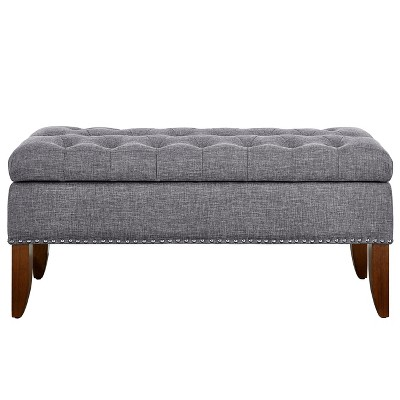 Mullen Grey Hinged Top Button Tufted Storage Bed Bench Gray - Pulaski