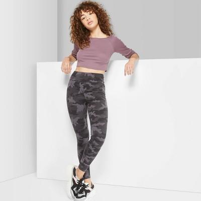 0ae1ef198ca Women s Camo Print High-Waist Leggings - Wild Fable™ Black Gray