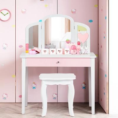 Costway Kids Vanity Set Princess Makeup Dressing Play Table Set W/Mirror  White\ Pink