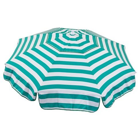 Parasol Beach Italian 6' Umbrella Acrylic Stripes Jade - Jade Green and White - image 1 of 1