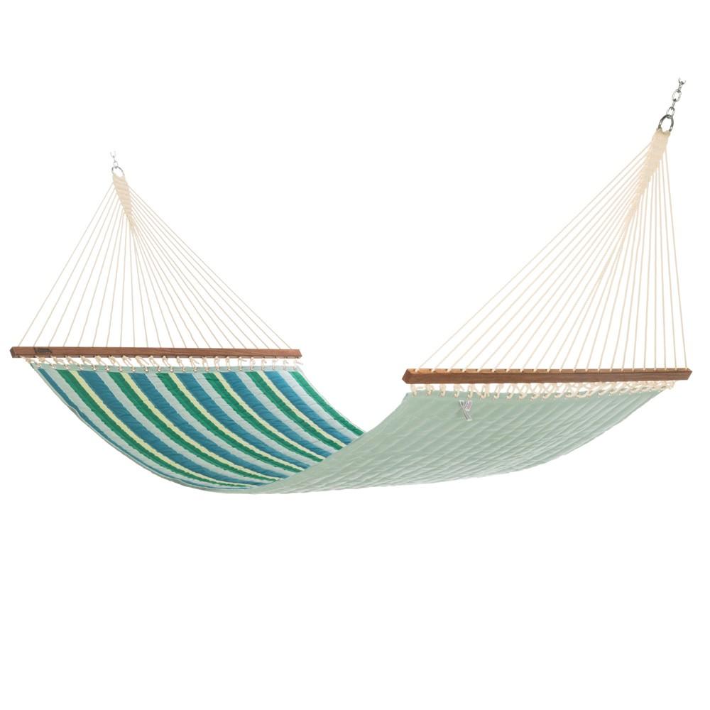 Quilted Hammock - Turquoise/Green Stripe - Hatteras Hammocks
