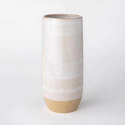 "11.1"" Ceramic Textured Vase White - Threshold™ designed with Studio McGee"