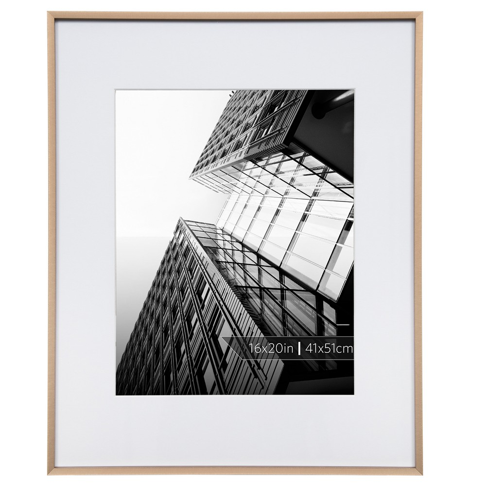 Burnes of Boston 11 x 14 Aluminum Gallery in Brushed Finish Matted Single Image Frame Bronze