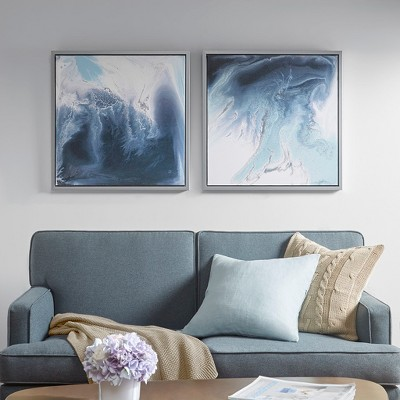 Lagoon 2 Gel Coat Framed Canvas 2pc Decorative Wall Art Set Blue