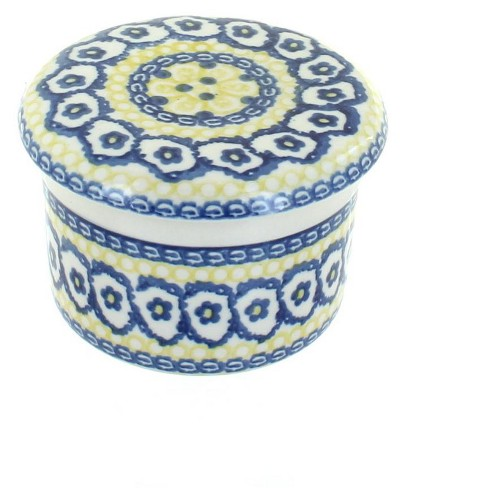 Blue Rose Polish Pottery Saffron French Butter Dish - image 1 of 2