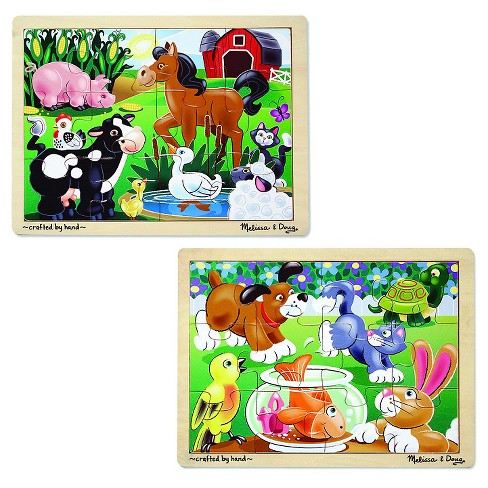 Melissa & Doug® Animals Wooden Jigsaw Puzzles Set -  Pets and Farm Life (24pc) - image 1 of 3