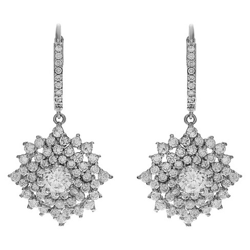 3 7/8 CT. T.W. Round-cut CZ Dangle Prong Set Earrings in Sterling Silver - Silver - image 1 of 2