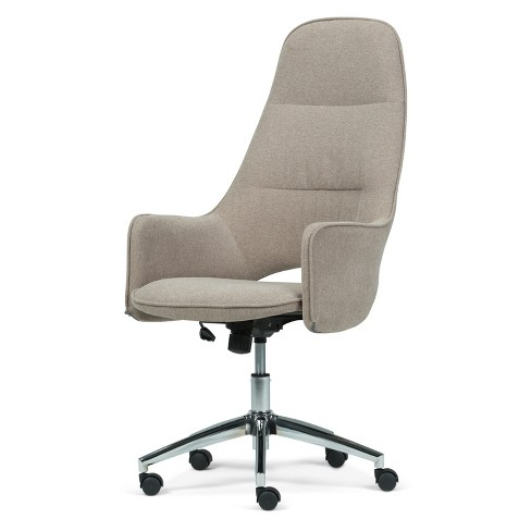 Specter Large Swivel Office Chair Micro Fiber Fabric Taupe - Wyndenhall - image 1 of 4