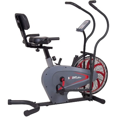 Body Flex Sports Body Rider BRF980 Indoor Upright Air Resistance Stationary Bike with Curve Crank Technology, Dual-Action Handlebars, and Back Support