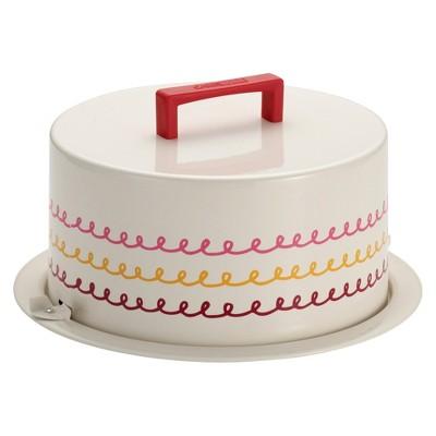 Cake Boss Serveware Metal Cake Carrier with Icing motif