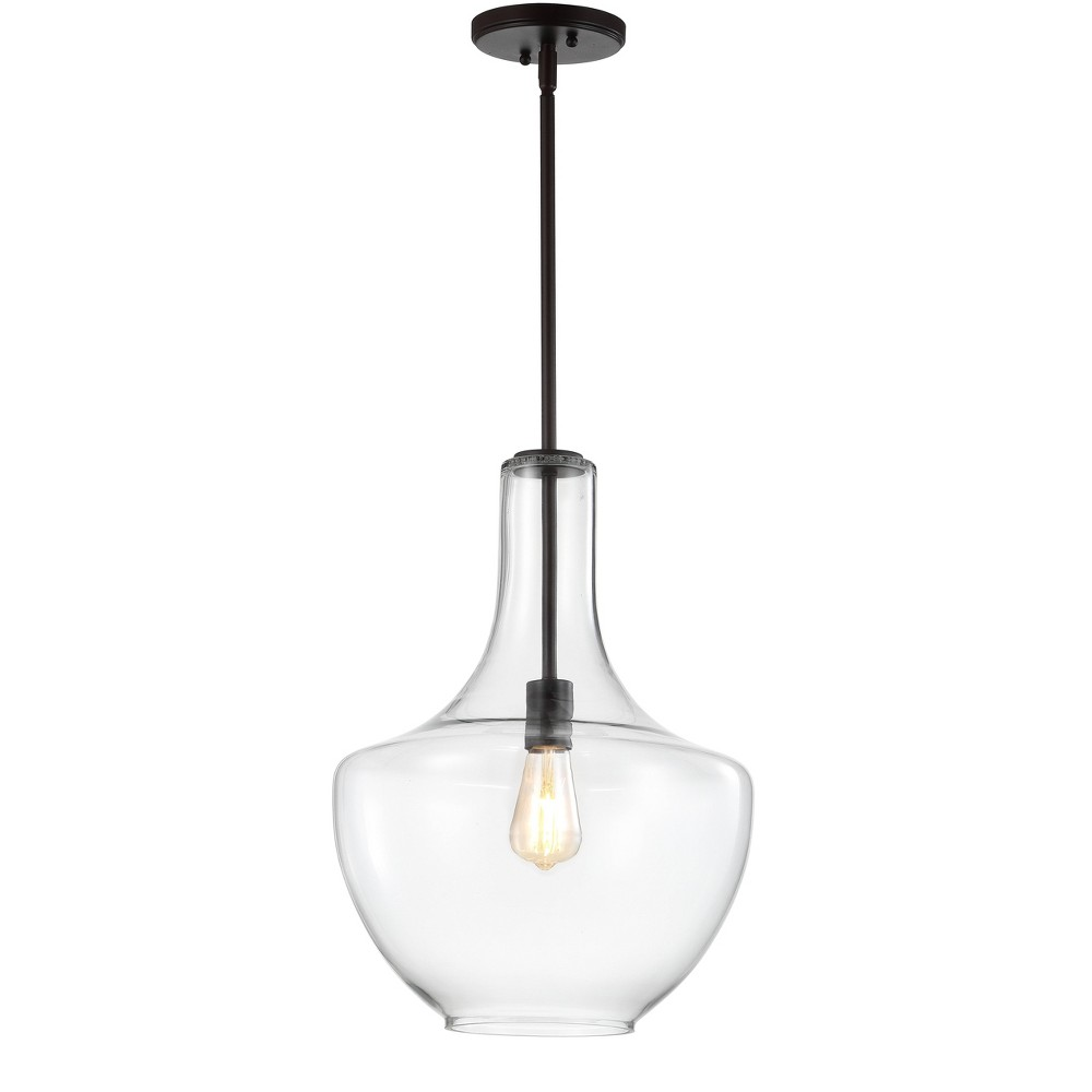 "Image of ""13.25"""" Watts Glass/Metal LED Pendant Black (Includes Energy Efficient Light Bulb) - JONATHAN Y"""