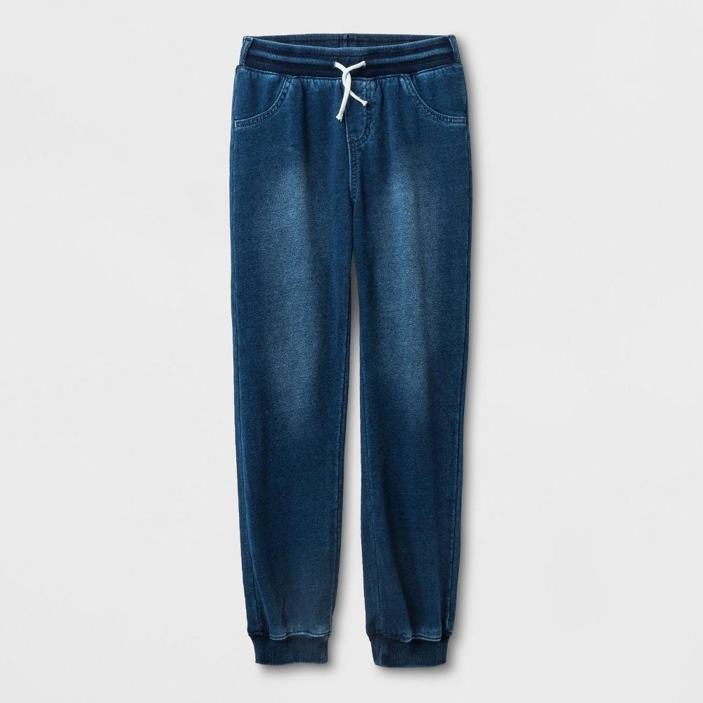 Girls' Adaptive Knit Medium Wash Denim Jogger Pants - Cat & Jack Blue M
