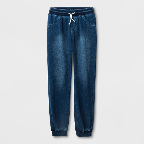 Girls' Adaptive Knit Medium Wash Denim Jogger Pants - Cat & Jack™ Blue - image 1 of 1