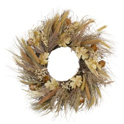 Northlight Cattail and Wheat Twig Artificial Wreath, Brown 24-Inch