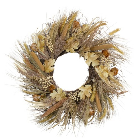 Northlight Cattail and Wheat Twig Artificial Wreath, Brown 24-Inch - image 1 of 4