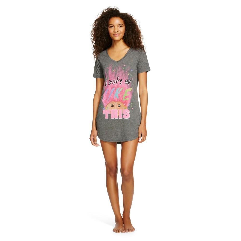 Women's Troll Doll I Woke Up Like This Sleep T-Shirt Shirt L Heather Grey, Gray