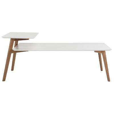Basil 2 Tier Coffee Table - White / Oak - Safavieh