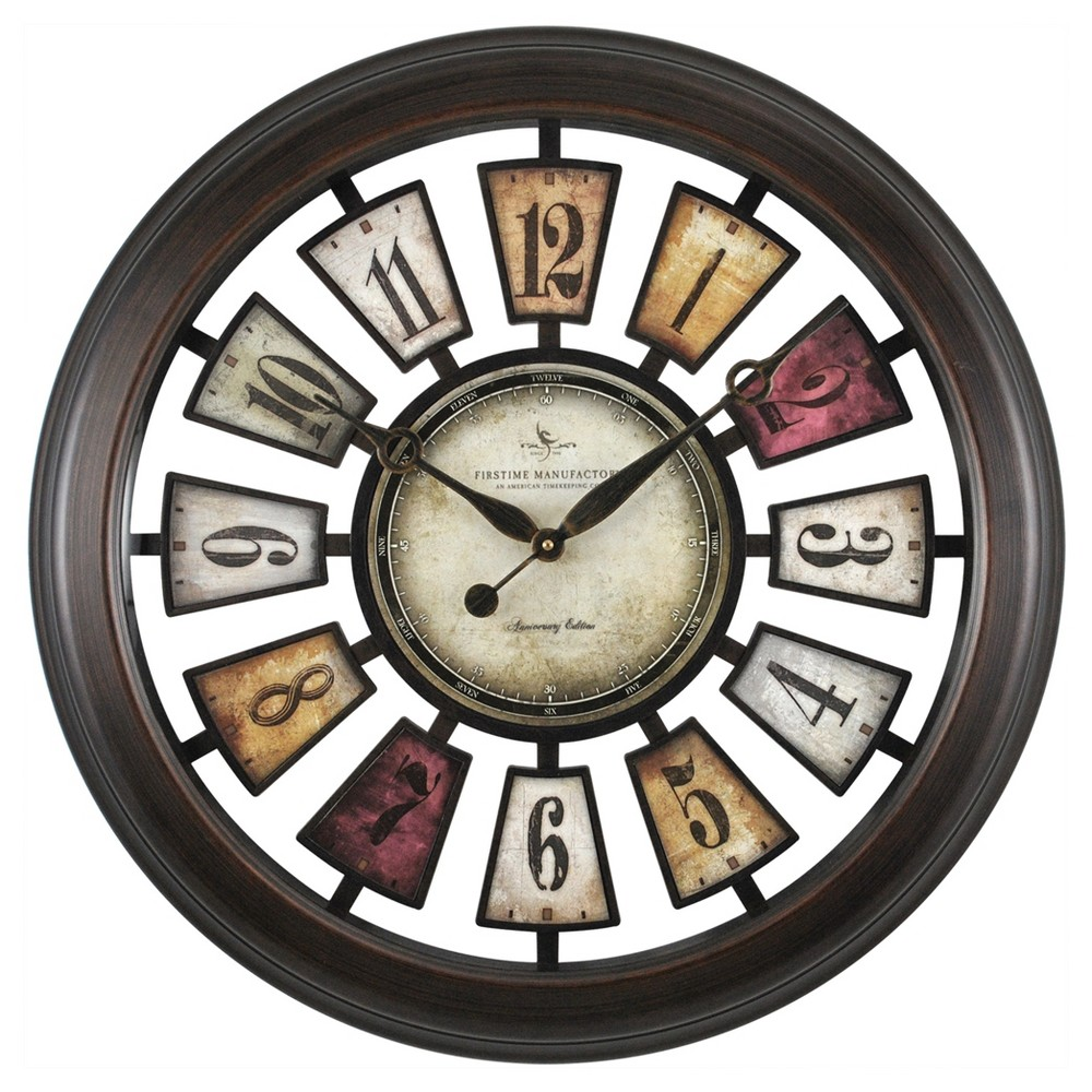 Image of Numeral Plaques 23 Round Wall Clock Metallic Black - FirsTime