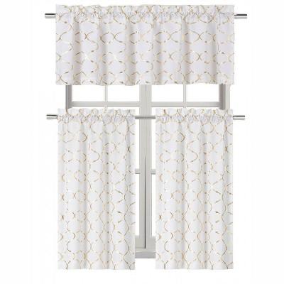 Kate Aurora Living  Metallic Foil Lattice Kitchen Curtain Tier & Valance Set