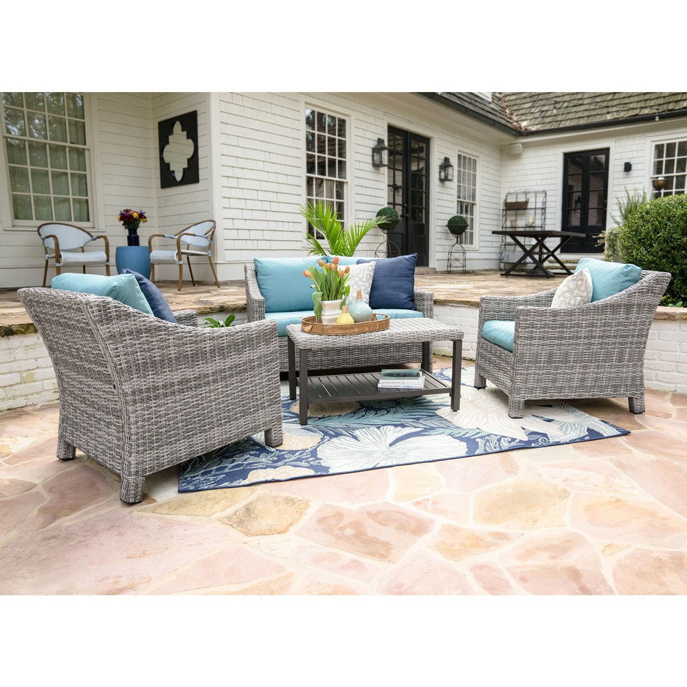 Image of 4pc Marietta All-Weather Wicker Chat Set Blue - Leisure Made