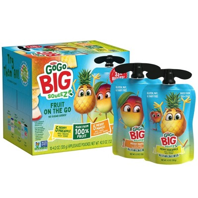 GoGo SqueeZ Big Variety Pack Apple Mango Banana Passfruit Pineapple Peach - 42.3oz/10ct