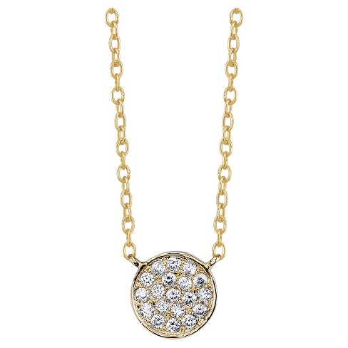 """Women's Sterling Silver Pave Disc Station Necklace - Gold (18"""") - image 1 of 2"""
