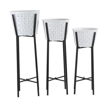 Set of 3 Contemporary Iron Planters with Stand White/Black - Olivia & May