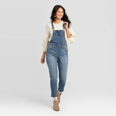 Women's High-Rise Raw Hem Taper Denim Cropped Overalls - Universal Thread™