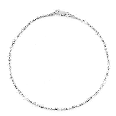 Sterling Silver Rosary Snake Chain Anklet