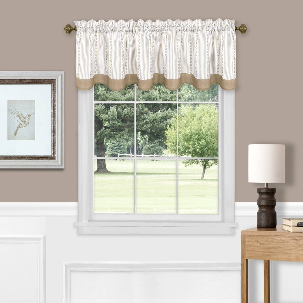 "Image of ""14""""x58"""" Westport Light Filtering Window Curtain Valance Taupe - Achim, Brown"""