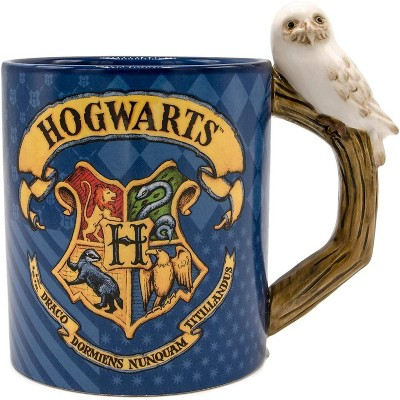 Silver Buffalo Harry Potter Hogwarts Crest 20oz Ceramic Mug with Sculpted Handle