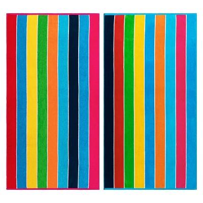 Summer Stripe Cotton Oversized 2-Piece Beach Towel Set by Blue Nile Mills
