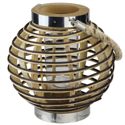 "Northlight 9.5"" Rustic Chic Round Rattan Decorative Candle Holder Lantern with Jute Handle"
