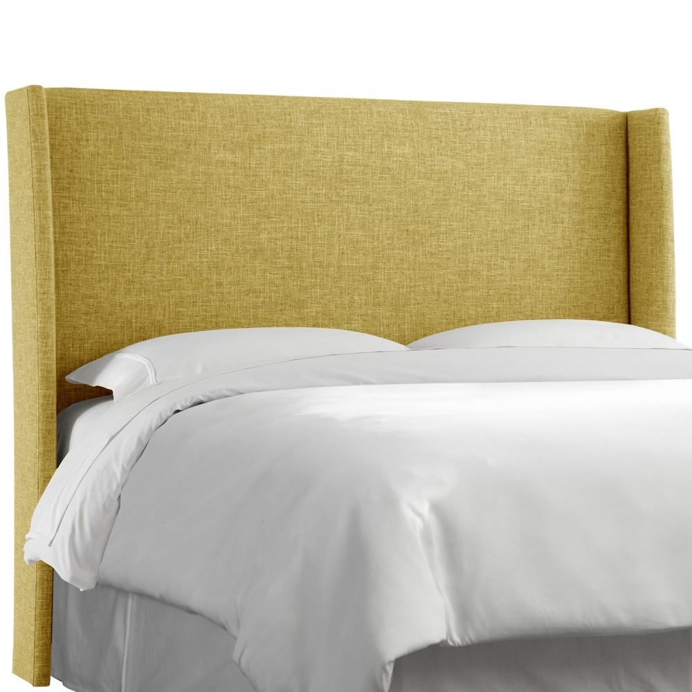 Queen Antwerp Wingback Headboard Golden Yellow Linen - Project 62