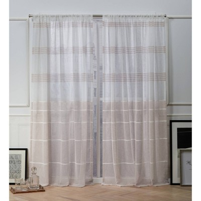 Wexford Embroidered Rod Pocket Sheer Window Curtain Panels - Exclusive Home