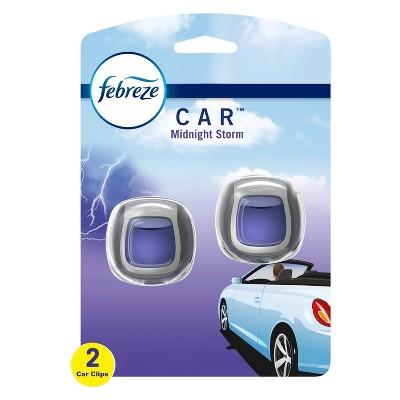 Febreze Car Odor-Eliminating Car Freshener Vent Clip Midnight Storm - 06oz & Car Vent Clip -  2ct