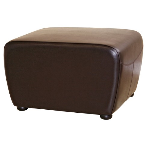 Cool Full Leather Ottoman With Rounded Sides Dark Brown Baxton Studio Dailytribune Chair Design For Home Dailytribuneorg