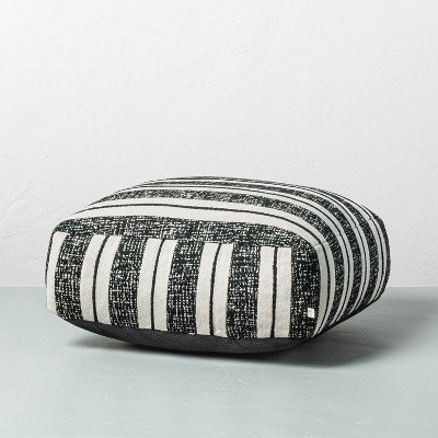 Bold Stripe Outdoor Floor Cushion Black/White - Hearth & Hand™ with Magnolia