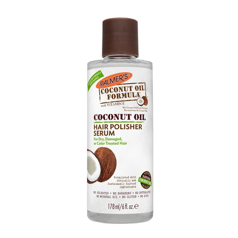 Palmer's Coconut Oil Formula Hair Polisher Serum - 6 fl oz Raw coconut, vitamin E and monoi oils give Palmer's Coconut Oil Hair Polisher Serum its exceptional ability to smooth frizz and flyaways while imparting silky shine. Created specifically to combat the effects of hot dryers, curling irons and flat irons, this lightweight coconut oil hair serum polishes and smoothes hair into place so you can stop hiding under hats. Gender: Unisex.
