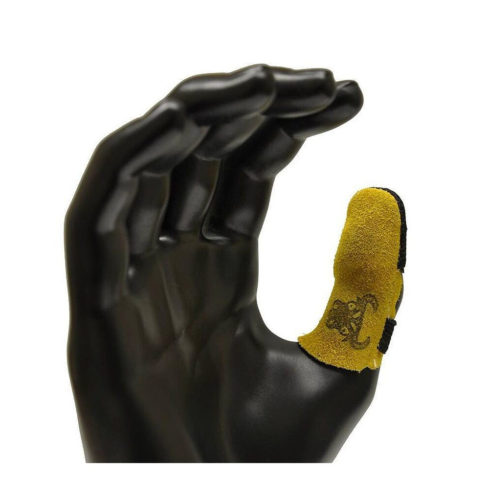 Image of Cowhide Leather Thumb Guard - Large - Yellow - G & F, Brown
