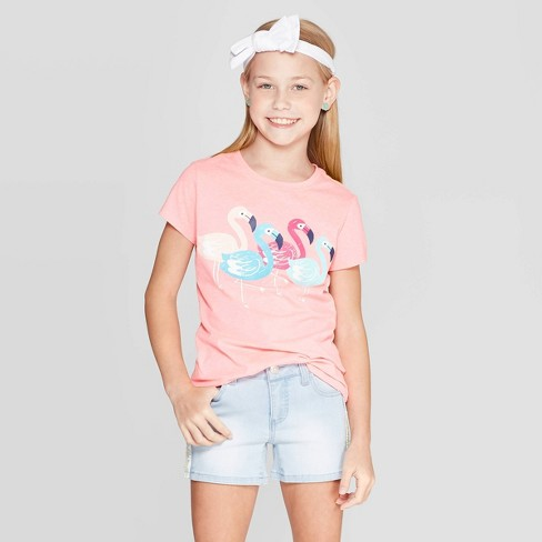 Girls' Short Sleeve Flamingos Graphic T-Shirt - Cat & Jack™ Coral - image 1 of 3