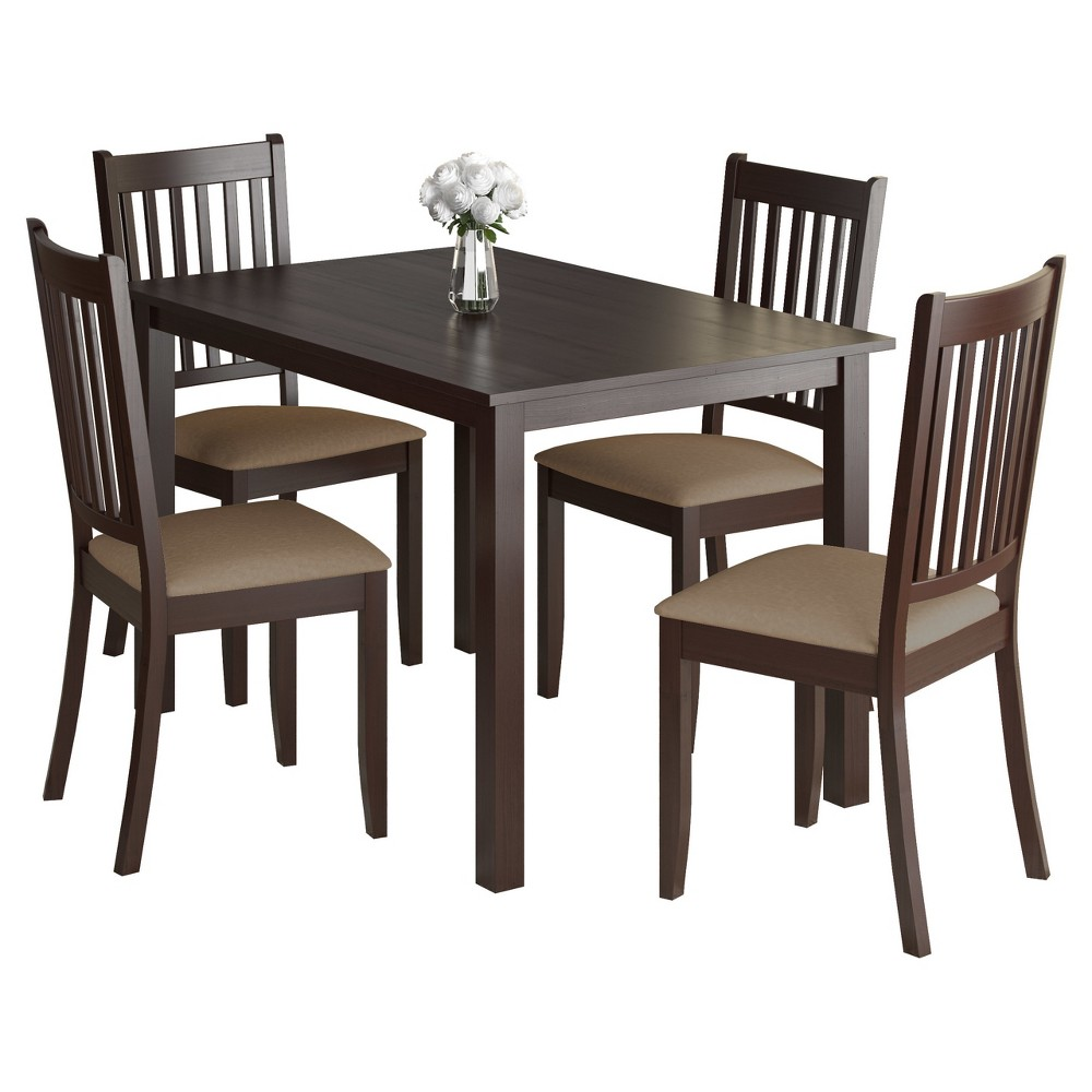 5 Piece Atwood Dining Set - CorLiving, Dark Cappuccino
