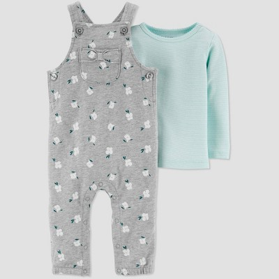 Baby Girls' 2pc Floral Overall Set - Just One You® made by carter's Gray 3M