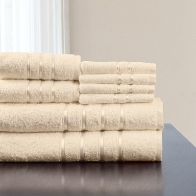 8pc Plush Cotton Bath Towels Sets Stone - Yorkshire Home