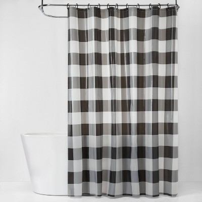 Buffalo Plaid Shower Curtain Bundle Black/White - Room Essentials™