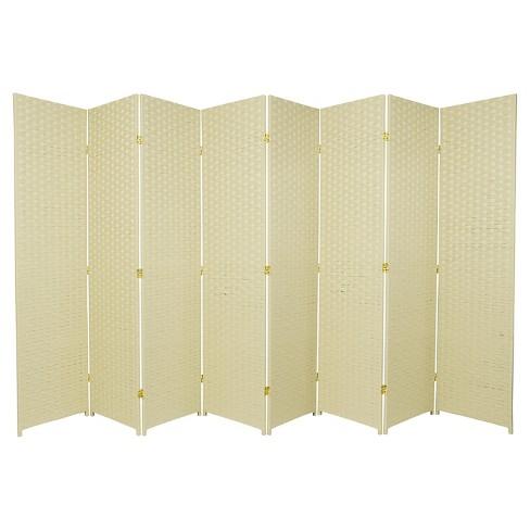 6 Ft Tall Woven Fiber Room Divider Cream 8 Panel Target