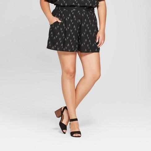 Womens Plus Size Printed Soft Shorts Ava Viv Blackwhite Target