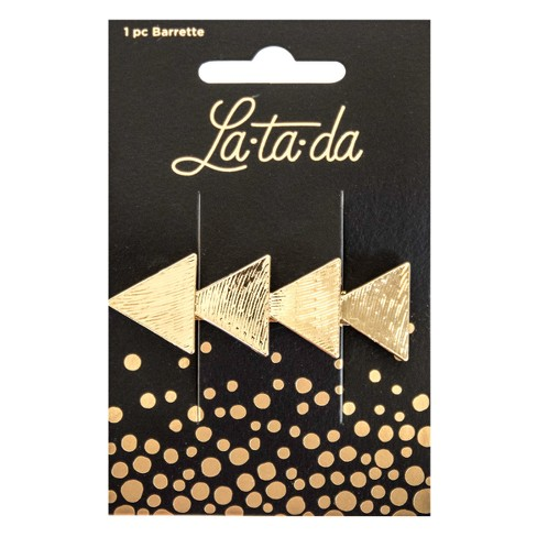 La-ta-da Layered Gold Triangle Barrette - 1pc - image 1 of 3